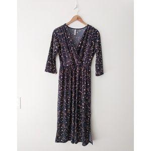 Gilli Blue Floral Jersey Midi Dress